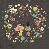 Invitación de boda de dibujos animados. tarjeta floral romántica con gatos graciosos novio y la novia. vector fondo de pantalla de flores. ideal para invitaciones de boda y guardar las invitaciones de fecha. — Vector de stock