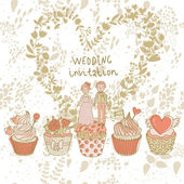 Cute wedding invitation. Couple in love on tasty cupcakes with heart made of flowers. Romantic background in cartoon style. Ideal for wedding cards and Save the Date invitations — Stock Vector