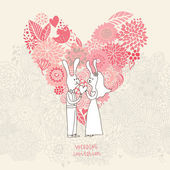 Cartoon concept marriage. Romantic background with heart made of flowers and funny rabbits. Vector wedding floral invitation in pink colors. Ideal for wedding cards and Save the Date invitations — Stock Vector