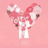 Karikatür kavramı evlilik. romantik arka plan yapılmış çiçekler ve komik tavşan kalp ile. pembe renkli vektör düğün floral davetiyesi. ideal düğün kartları ve indirimden tarihi davetiyeler — Stok Vektör