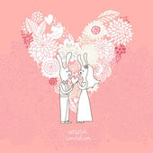 漫画コンセプト結婚。面白いウサギの花から作られた心とロマンチックな背景。ピンク色でベクトル結婚式の花の招待。結婚式のカードや日付の招待状を保存に最適です。 — ストックベクタ