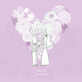 Cartoon concept marriage. Romantic background with heart made of flowers and funny rabbits. Vector wedding floral invitation in violet colors. Ideal for wedding cards and Save the Date invitations — Stock Vector