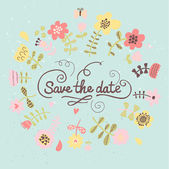 Floral save the date card in blue colors. Colorful wedding invitation in vector — Stock Vector