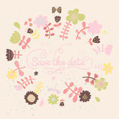 Floral save the date card in pink colors. Colorful wedding invitation in vector — Stock Vector
