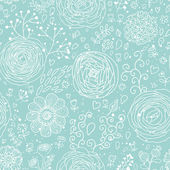 Stylish floral seamless pattern in blue colors. Ranunculus flowers. Seamless pattern can be used for wallpaper, pattern fills, web backgrounds, surface textures. Gorgeous seamless floral background — Stock Vector