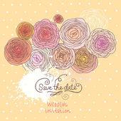 Uitnodiging voor bruiloft met boterbloem. Cartoon floral achtergrond in vector. stijlvolle bruiloft kaart in pastel kleuren — Stockvector