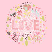 Love illustration. Cartoon romantic background. Wallpaper made of flowers about love in vector — Stock Vector
