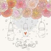 Sauver lumineux la carte date en vecteur. invitation de mariage romantique élégante faite de fleurs et de cages. — Vecteur