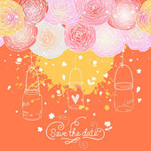 Bright Save the Date card in vector. Stylish romantic wedding invitation made of flowers and cages. — Stock Vector