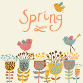 Spring flowers and birds. Cartoon floral background in vector. Spring concept card in bright colors — Stockvector