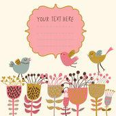 春の花や鳥。花の背景ベクトル漫画します。明るい色で春の概念カード — ストックベクタ