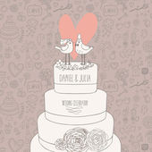 Stylish wedding invitation. Romantic birds on the cake. Save the date concept illustration. Sentimental vector card in pastel colors — Vettoriale Stock