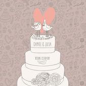 Stylowy ślub zaproszenia. romantyczny ptaków na torcie. zapisz data ilustracja koncepcja. karta sentymentalny wektor w pastelowych kolorach — Wektor stockowy