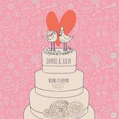 时尚的婚礼请柬。蛋糕上的浪漫鸟。保存日期的概念图。感伤矢量卡在柔和的颜色 — 图库矢量图片