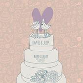 Convite de casamento elegante. românticos pássaros no bolo. salve a ilustração do conceito de data. cartão de vetor sentimental em tons pastel — Vetorial Stock