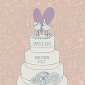 Stylish wedding invitation. Romantic birds on the cake. Save the date concept illustration. Sentimental vector card in pastel colors — Stok Vektör