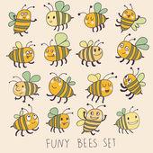 Abeilles drôles dans le vecteur. dessin animé drôles abeilles dans des couleurs vives. icônes enfantin printemps — Vecteur