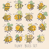 Funny bees set in vector. Cartoon funny bees in bright colors. Childish spring icons — Stock Vector