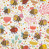 Bright spring seamless pattern Bees and flowers. Seamless pattern can be used for wallpaper, pattern fills, web page backgrounds, surface textures. Gorgeous seamless floral background — Stock Vector