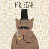 Mr bear. Cute cartoon bear in classical style with top hat, smoking pipe, bow-tie and nice mustache. Vector cartoon character on vintage seamless pattern — Stock Vector