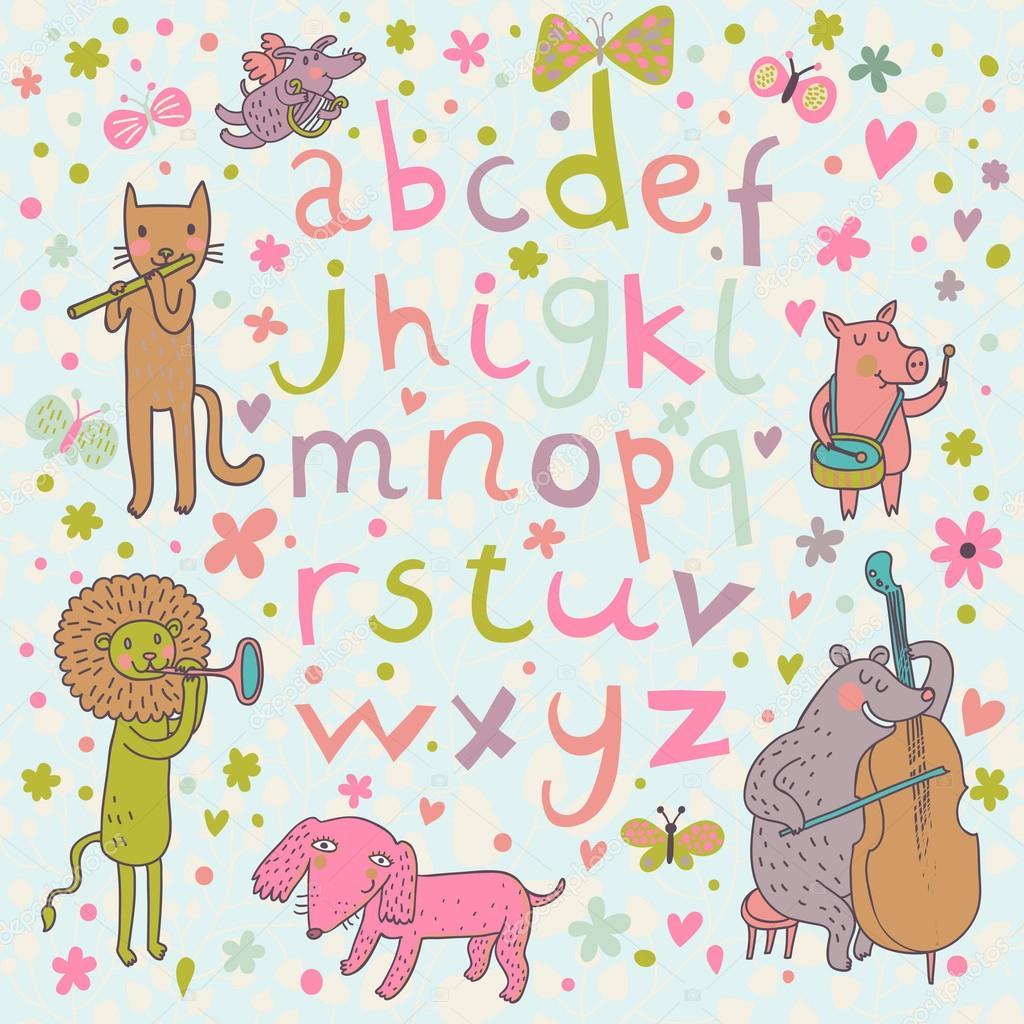 Alfabeto luminoso con musicisti animali simpatico cartone