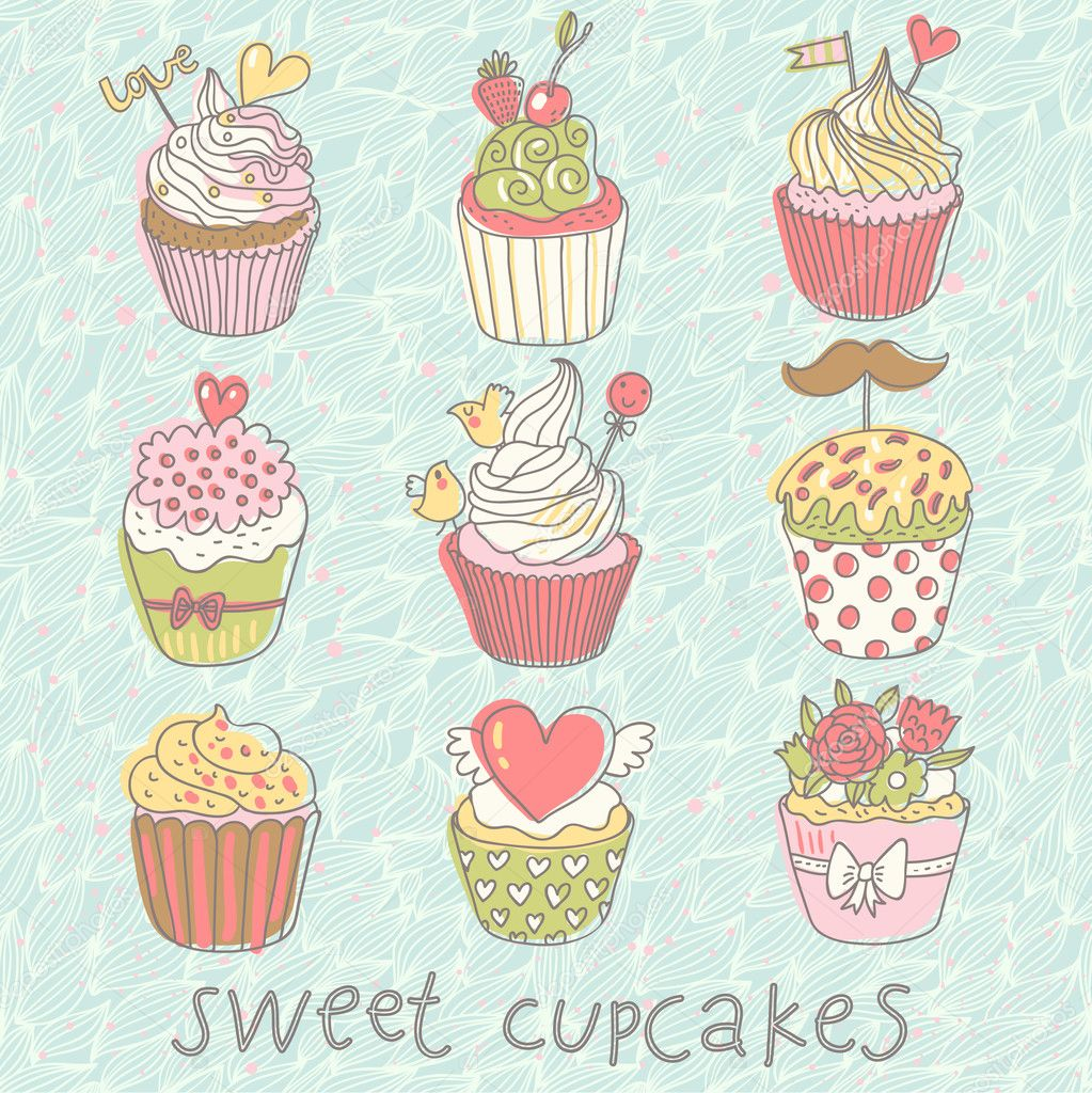 Sweet cupcakes vector set. Cartoon tasty cupcakes in pastel colors ...