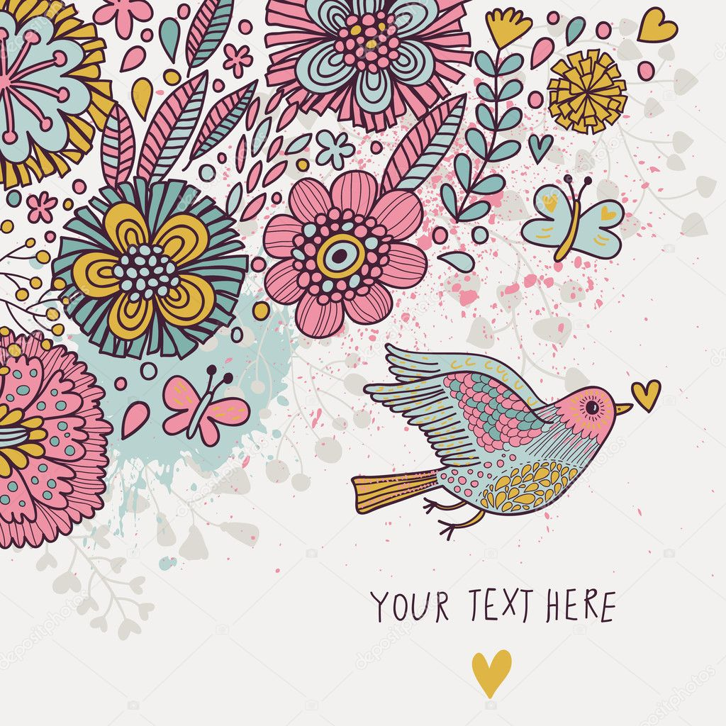 colorful vintage background. Pastel colored floral wallpaper with bird and butterflies. cartoon ...