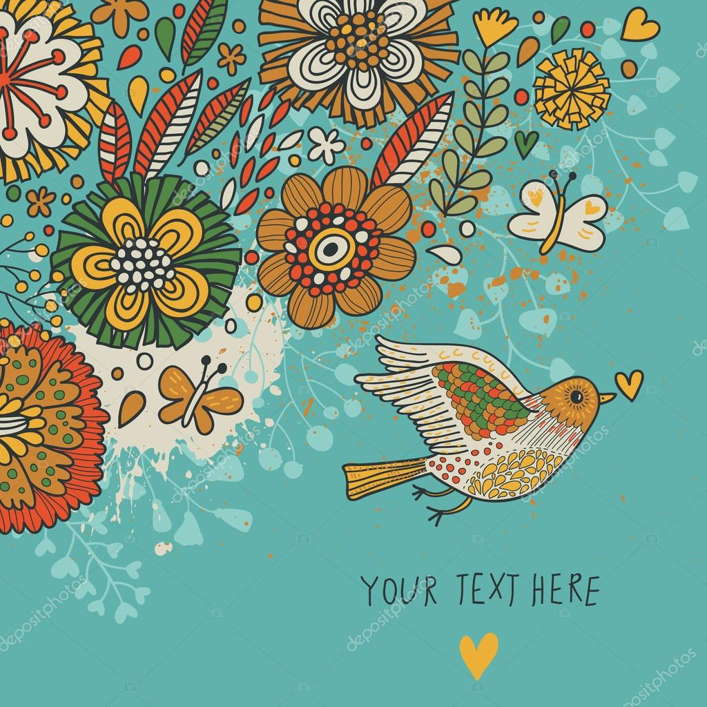 多彩复古背景.蜡笔色花卉壁纸与鸟和蝴蝶.在矢量卡通浪漫卡