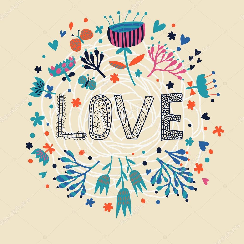 Illustration de l 39 amour dessin anim romantique fond d 39 cran de fleurs sur l 39 amour en vecteur - Dessin de l amour ...