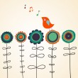 Bird is singing on flowers — Stock Vector