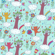 Cartoon summer seamless pattern — Stock Vector