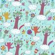 Cartoon summer seamless pattern — Stock Vector