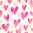 Pink  hearts - seamless pattern - Stock Vector
