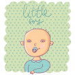 Newborn boy - cute cartoon vector - Stock Vector