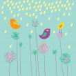 Summer composition - cute cartoon vector background — Stock Vector