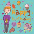 Birthday cartoon background - Stock Vector