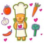 Cat - Chef. Cartoon vector — Stock Vector