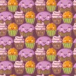 Tasty seamless pattern. Funny cartoon cakes — Stok Vektör