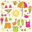Summer beach set — Stock Vector