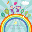 Cute children cartoon illustration - happy kids on rainbow — Stock Vector