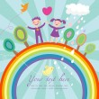 Cute children cartoon illustration - happy kids on rainbow - Stock Vector