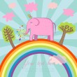 Cartoon summer illustration - cute pink elephant on a rainbow — Stock Vector
