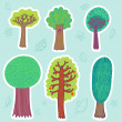 Beautiful trees set — Stockvectorbeeld