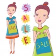 Cartoon girl love sale — Stock Vector