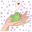 Touching bird holding in hands with care - cartoon vector illustration — Stock Vector
