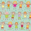 Happy kids - colorful seamless pattern in vector — Stock Vector