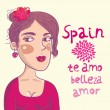 Cute spanish girl portrait - cartoon illustration - Stock Vector