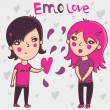 Emo teens in love - cartoon illustration — Vettoriali Stock