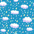 Colorful seamless pattern - rainy weather - Stockvektor