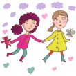 Cartoon girls - walking outside together - Stock vektor